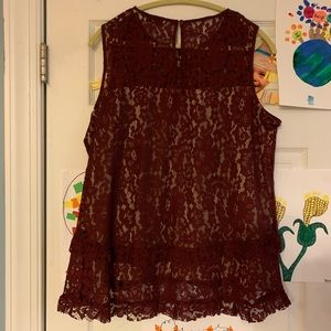 Rose & Olive Maroon Lace Lined Top - sz XL